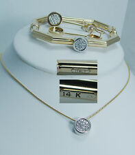 Made in Italy 14K Yellow Gold Diamond Bracelet Earrings Necklace Pendant Set