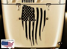 NEW AMERICAN FLAG Blackout Hood Vinyl Car Truck Decal USA (Fits Jeep Wrangler)