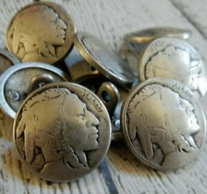"""Indian Head Nickel Buttons Antique Silver 3/4"""" 20mm 4 to 20  Southwest Repro"""