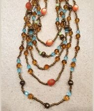5 Layer Strand Statement Necklace Glass Acrylic & Cat Eye Beads Brown Blue Pink