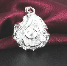 NEW 925 Sterling silver Plated Fashion Women Rose Pendant Necklace Chain Jewelry