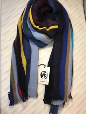 Paul Smith Men Scarf Made In Germany 100% Wool Knitted Wide Airtex Navy