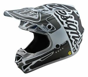 TLD Motocross Helmet Factory Silver SE4 Polyacrylite MX Adult Off-Road