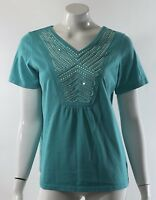 Denim 24/7 Womens Top Size Small 12 Aqua Blue Embellished Sequin Front Shirt