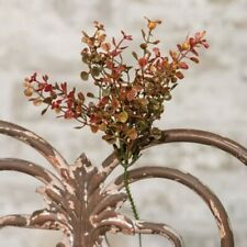 "Artificial Set / 3 RED PEPPER GRASS PICK Bush Plant Autumn Floral NEW 9"""