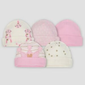 Gerber Baby Girls 5 Pack Caps Size 0-6 Months NEW Princess, Stars, Hearts, Bunny