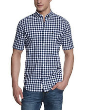 New Mens Lacoste Regular Fit Navy White Checks Short Sleeve Shirt 38 S