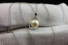 14k white gold round cream cultured pearl diamond 15 inch chain pendant necklace