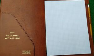 IBM Memorabilia - Nice Leather Notepad Cover Stamped E/S/I Sales Rally 1984