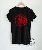Targaryen T-Shirt Game of Thrones Shirts Sigil Dragons Red Print Mens Fans Tees