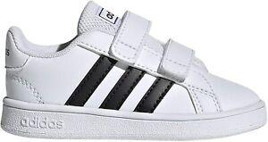 Unisex Toddler Adidas Child Grand Court Sneaker EF0118 White/Black/White New