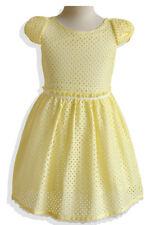 Cherbella Girl YELLOW BOW SLEEVE EYELET DRESS