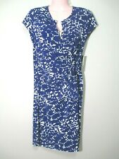 NWT New York and Company Women Size Large Dress Blue White SS ALLOVER STRETCH