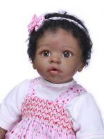 55cm Realistic Silicone Vinyl Reborn Baby Dolls Lifelike Newborn Black Girl Doll