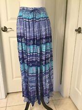Revue Pretty 100% Gauzy Cotton Shades Of Blue Boho Hippie Peasant Skirt Sz L EUC