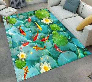 Area Rugs Bedroom Rug Living Room Floor Mat Pond Green Leaves Lotus Swimming Koi