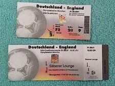 2001-Alemania V Inglaterra coincide con boleto + Billete De Salón - 2002 Copa del Mundo calificador