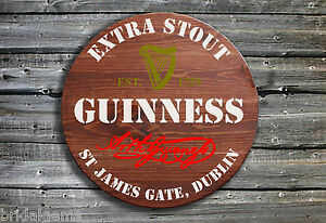 Guinness Irish Stout Barrel End Style Wooden Pub Sign Great Gift for Fathers