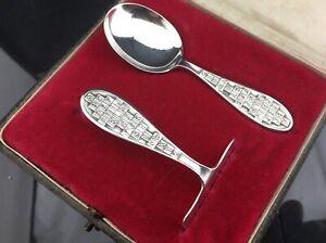 ALPHABET silver CHRISTENING SET - Glasgow 1930 - Childs spoons