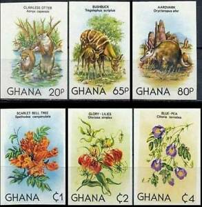 GHANA 1982 ANIMALS & FLOWERS SC#782-87 MNH IMPERF nonDENTELE (DEL18)