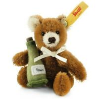 "STEIFF ""Mini Teddy with Champagne Bottle"" EAN 028908  2015 Brown Mohair Bear NEW"