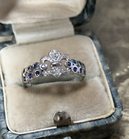Diamond and Sapphire Ring, French 'Fleur-de-Lis' Design in 9ct White Gold