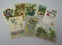 Lot of 8 Embossed Early 1900's Antique Vintage Christmas Postcards Holly