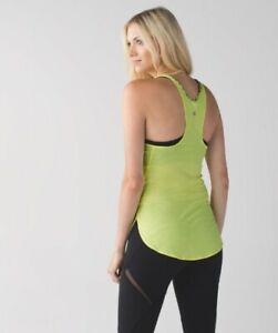 Lululemon What The Sport Singlet Racerback Yoga Tank Top Size 6 Heathered Yellow