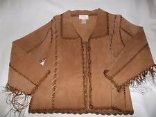 NEW WESTERN LEATHER LADIES JACKET, CROCHET TRIM AND LEATHER LACES, FRINGE SIZE 8