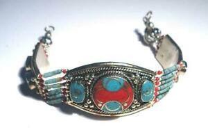 STERLING SILVER .925 BRACELET CORAL & TURQUOISE