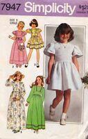 Simplicity 7947 Girl's Dress in 2 Lengths Size 5 Vtg 1977