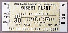 rare 1983 ROBERT PLANT concert ticket Seattle Center WASHINGTON Led Zeppelin