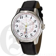 Charles Hubert Mens Telemeter Watch Day & Date Leather Stainless Steel  3776-WB