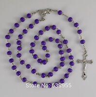 PURPLE WOOD Rosary INRI Jesus Cross Religious CATHOLIC Rosary