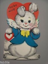 Vtg Valentine Card Gibson Dressed White Rabbit Easter Bunny Angel You're Nice