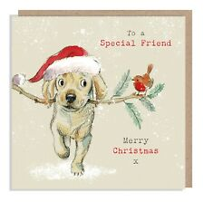 Quality Christmas Card -  Dog card - Printed on sustainable board in the UK