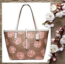 NWT Coach 31700 SIGNATURE ROSE Print Market TOTE In TAN CHALK PVC Leather $350