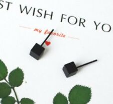Pair Black Colour Small Solid Cubic Stud Earrings Cube Ear Rings Ring blk ER18