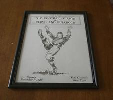 1925 NEW YORK GIANTS vs CLEVELAND BULLDOGS FRAMED PROGRAM PRINT - POLO GROUNDS