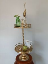 Pedestal Two Tier Cake Stand Vintage Hollywood regency style bamboo Brass 1970s