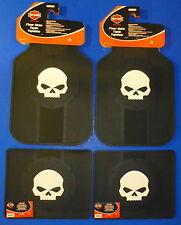 Harley Davidson Willie G Skull Front Rear Rubber Floor Mats Logo 4 Pcs Set Truck
