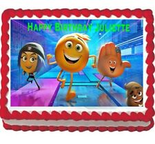 Emoji movie party edible cake image cake topper 1/4 frosting sheet