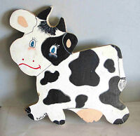 """Handmade Painted Wood Milk Cow Holstein Wall Hanging PLAQUE 13"""" FREE SH"""