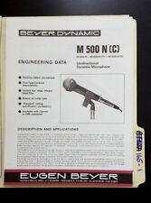Beyer Dynamic M500 N Microphone Engineering Data *Original*