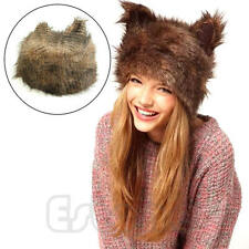 Chic Women Adorable Fluffy Plush Animal Faux Fur Ear Cap Cat Winter Fur Hood Hat