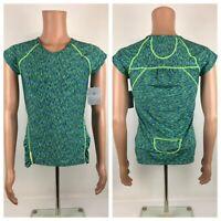ATHLETA Pop Space Dye Tee TShirt Zippered  Back-Pocket  Sz Small NWT NEW S Green