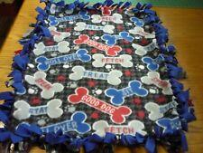 Handmade fleece tie blanket of dog words for a small pet