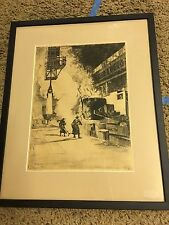 1922 Pencil Signed Alexander Eckener Industrial Factory Foundry Etching Print