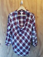 Soft Surroundings Women's Blouse Top Long Roll Tab Sleeve Cowl Neck Plaid.Size S