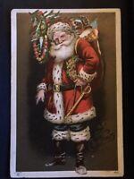 Santa Claus ~American Flag~Sword~Ribbon~Toys ~Patriotic~Christmas Postcard-a935